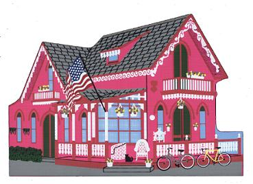 pink gingerbread house oak bluffs located in the methodist campmeeting association campground 1995 in stock